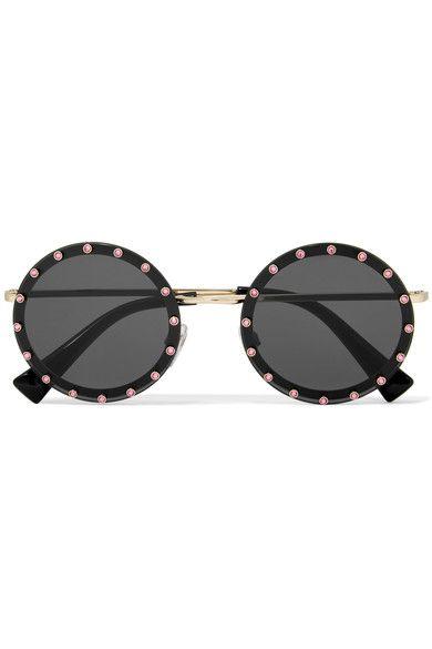 Embellished Round-frame Acetate And Gold-tone Sunglasses - Tortoiseshell Valentino s7Hig