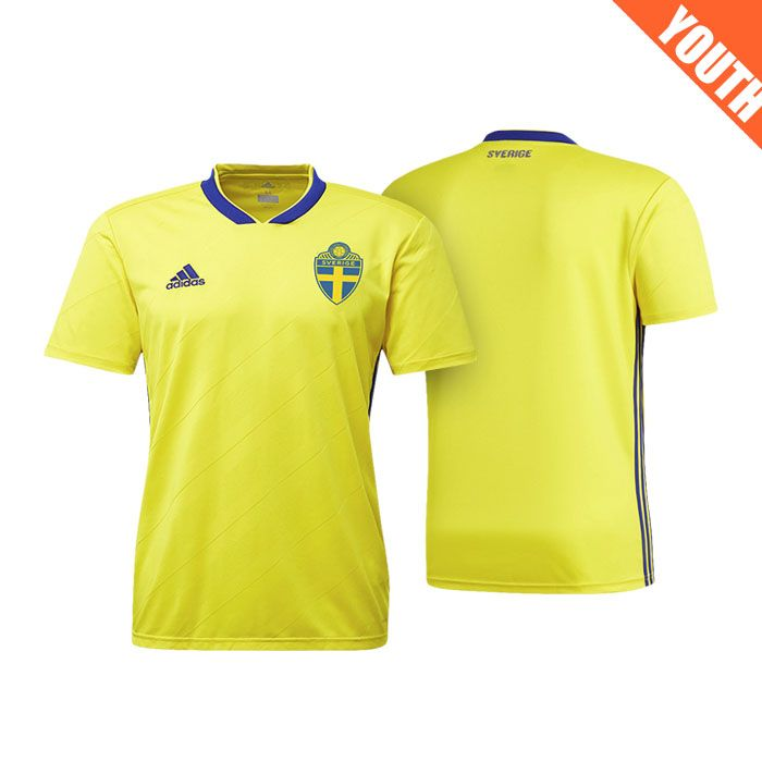 83b2e2cce19 Youth Sweden 2018 World Cup Home Yellow Jersey