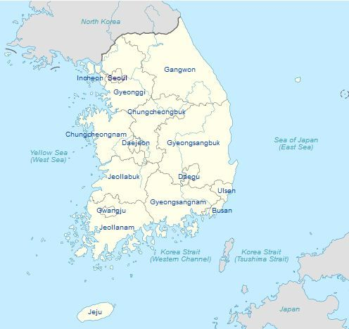 South Korea is divided into administrative regionsprovinces called