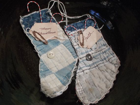Two Mini Christmas Stocking Ornaments from 19th C. by LRFoxDesign, $8.00