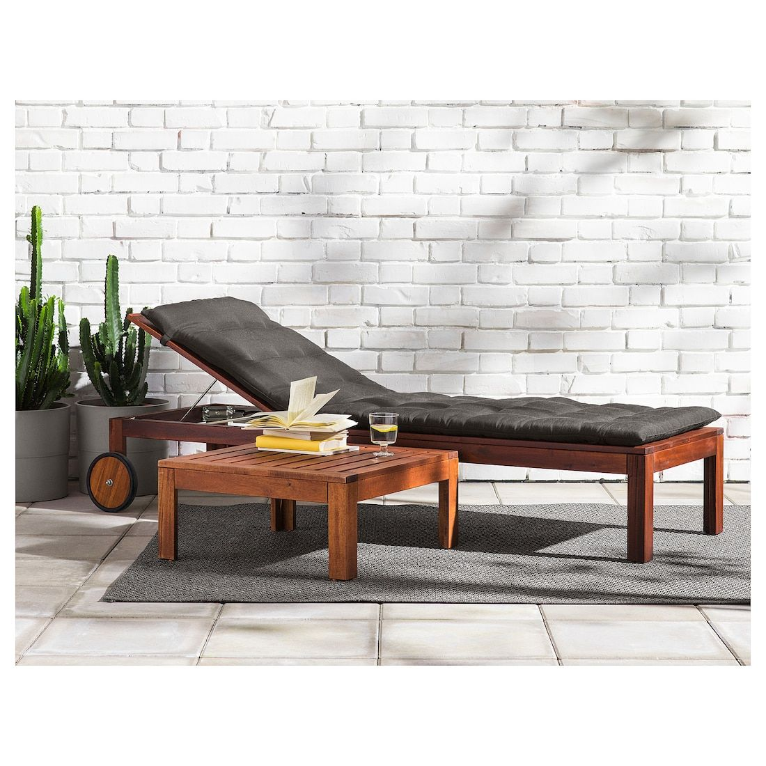 IKEA APPLARO Brown Stained Brown Chaise | Sun lounger