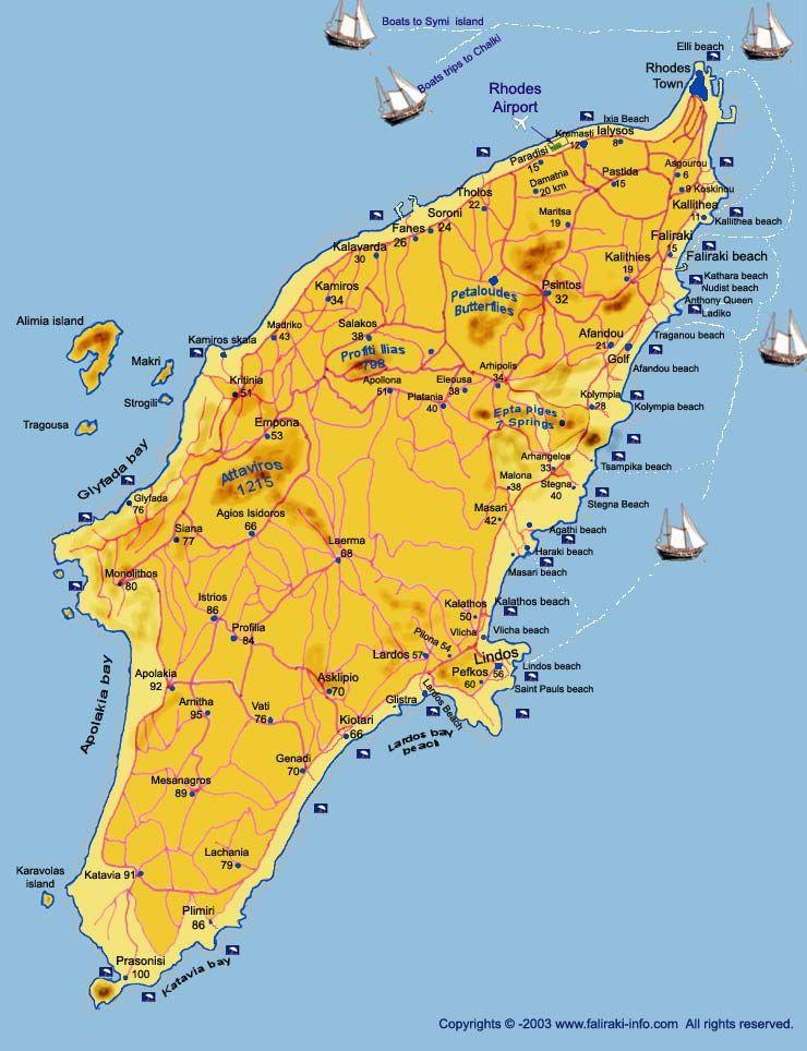 Rhodes Island Map Greek Isles Greek 12 IslesDodecanese