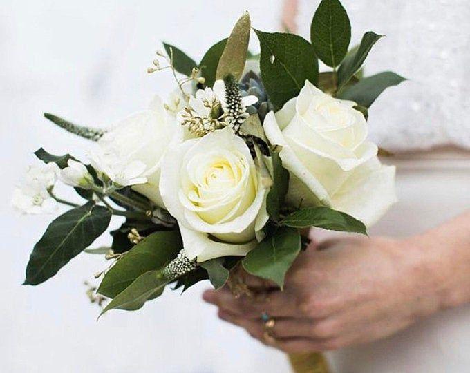 Sunflower bridal bouquet, cascading bouquet, wedding bouquet, bride bouquet, ivory bouquet, greenery bouquet, made to order