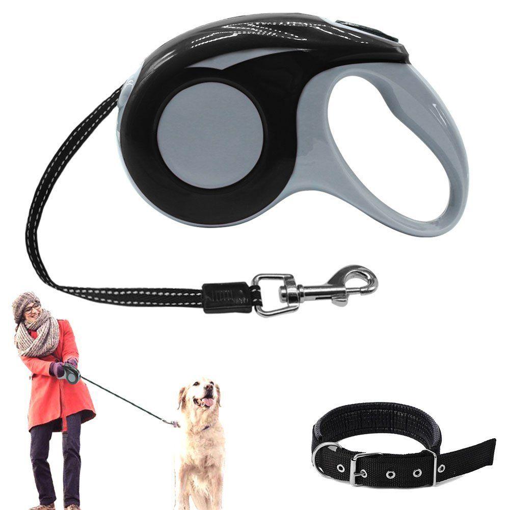 Retractable Dog Leash With Dog Collar Adjustable 16 4ft Pet Leash