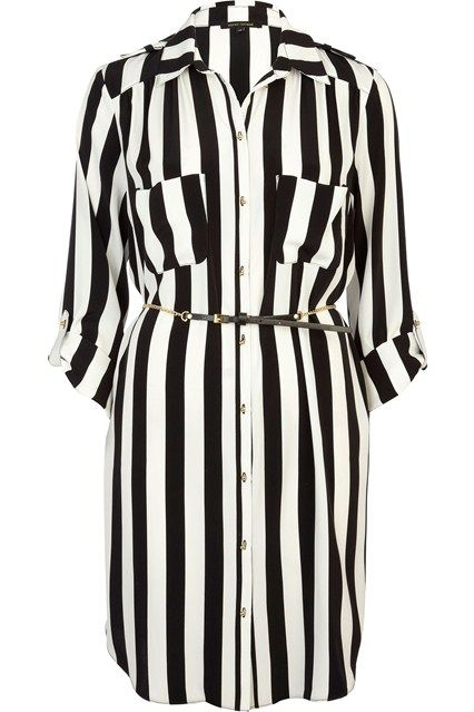 Black and White Striped Shirt Dress 65ee45b90