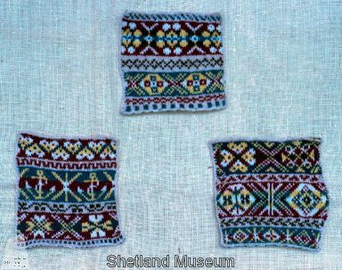 Shetland Museum Knitwear Collection. Patterned Fair Isle Swatches.