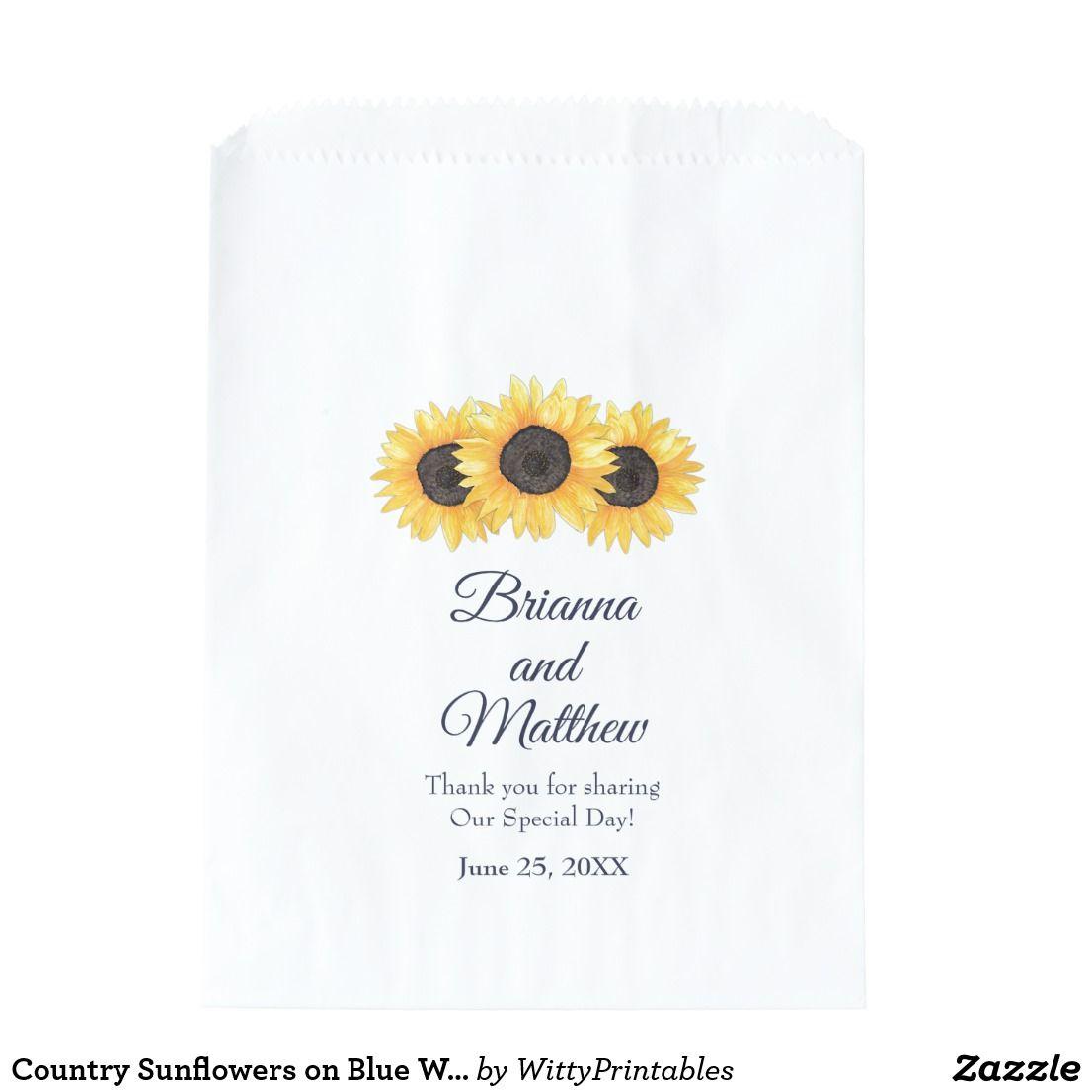 Country Sunflowers on Blue Wedding Favor Bag | Blue wedding favors ...