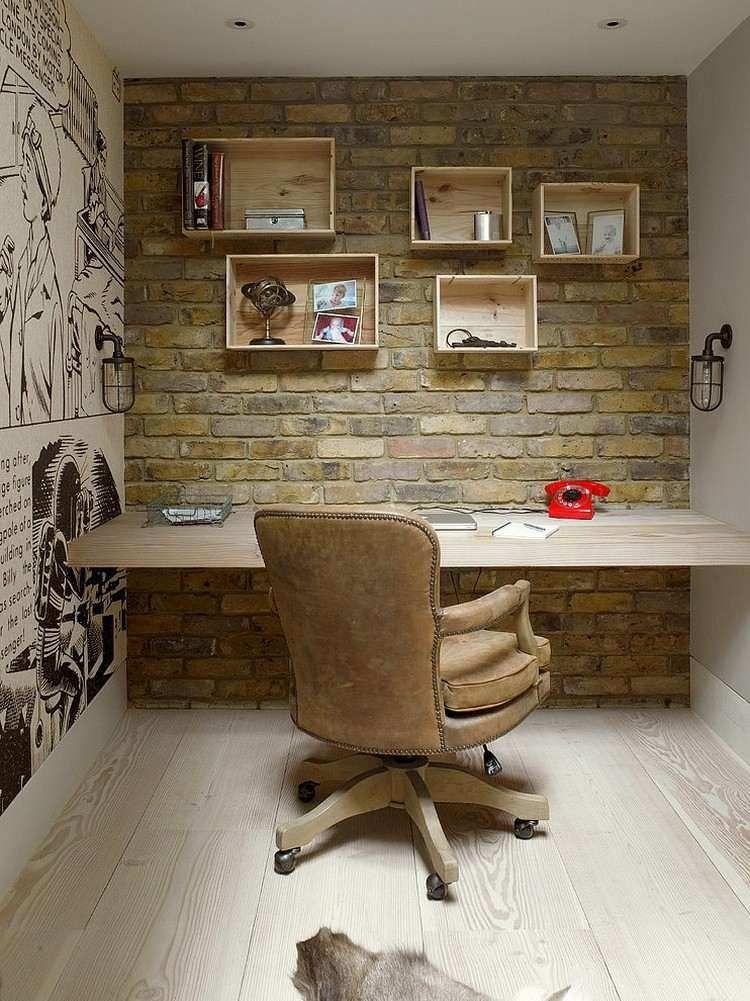 amnagement bureau la maison avec murs en brique et bande dessine - Idee Amenagement Bureau Maison