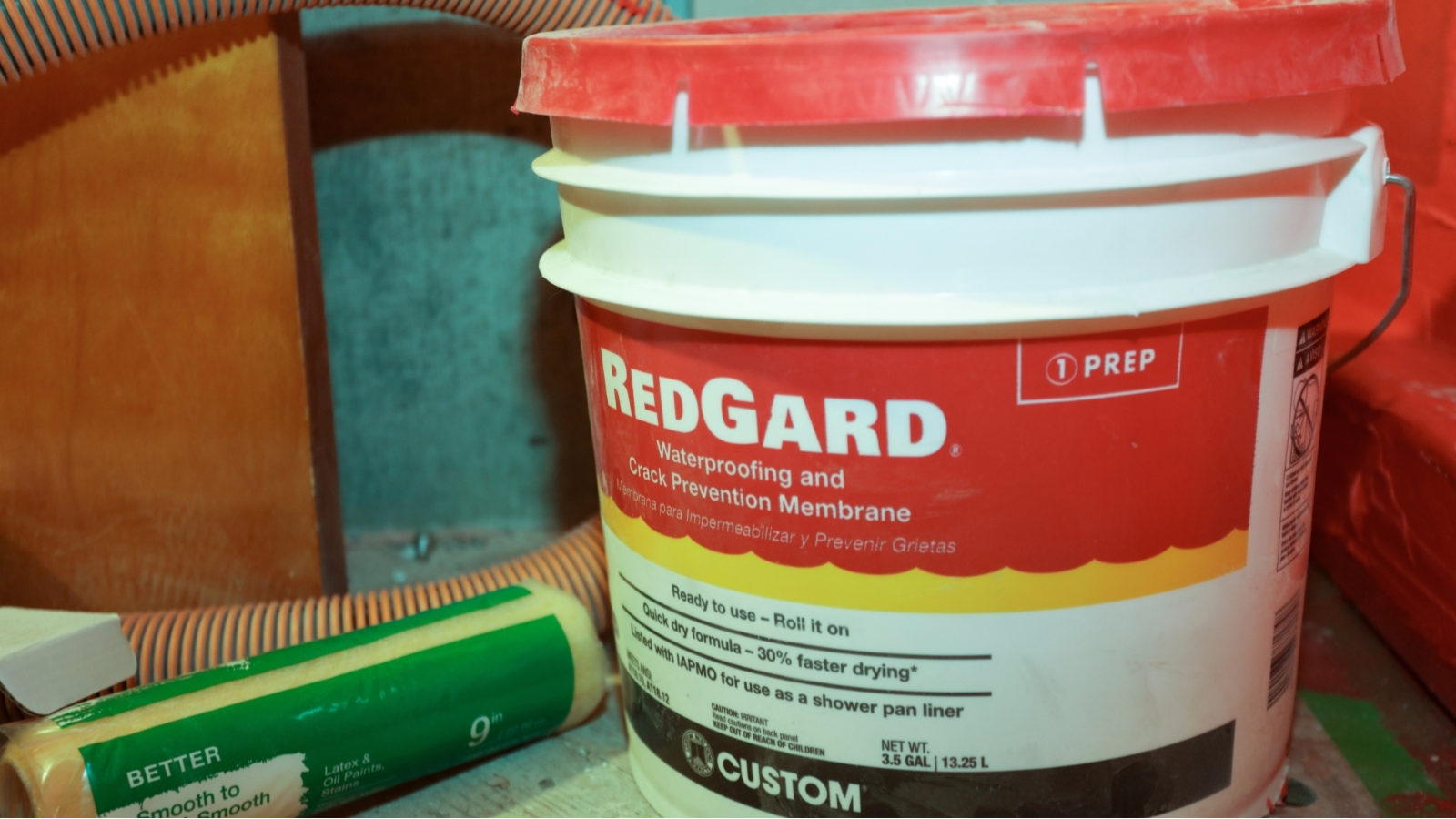 How to Waterproof a Shower with Redgard | Shower pan liner ...