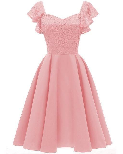 2020 Autumn Summer Dress Women Sexy Hollow Out Lace Dress Elegant Casual Short Sleeve Ball Gown Party Dresses Midi Vestidos   pink dress / XXL