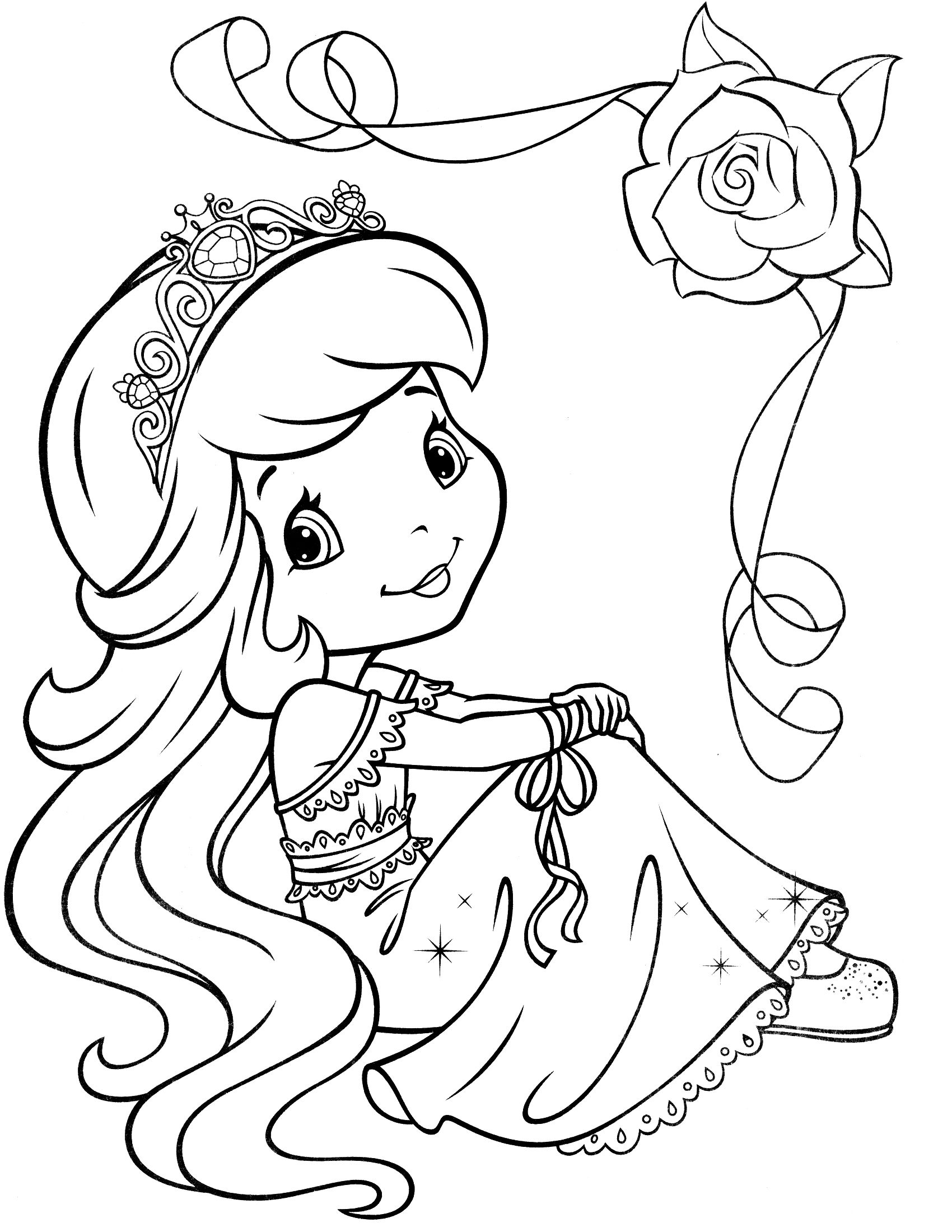 strawberry shortcake coloring page digital stamp