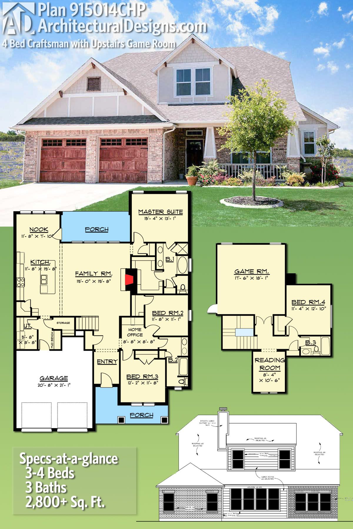 Plan 915014chp 4 Bed Craftsman With Upstairs Game Room Craftsman House Plans House Blueprints Dream House Plans