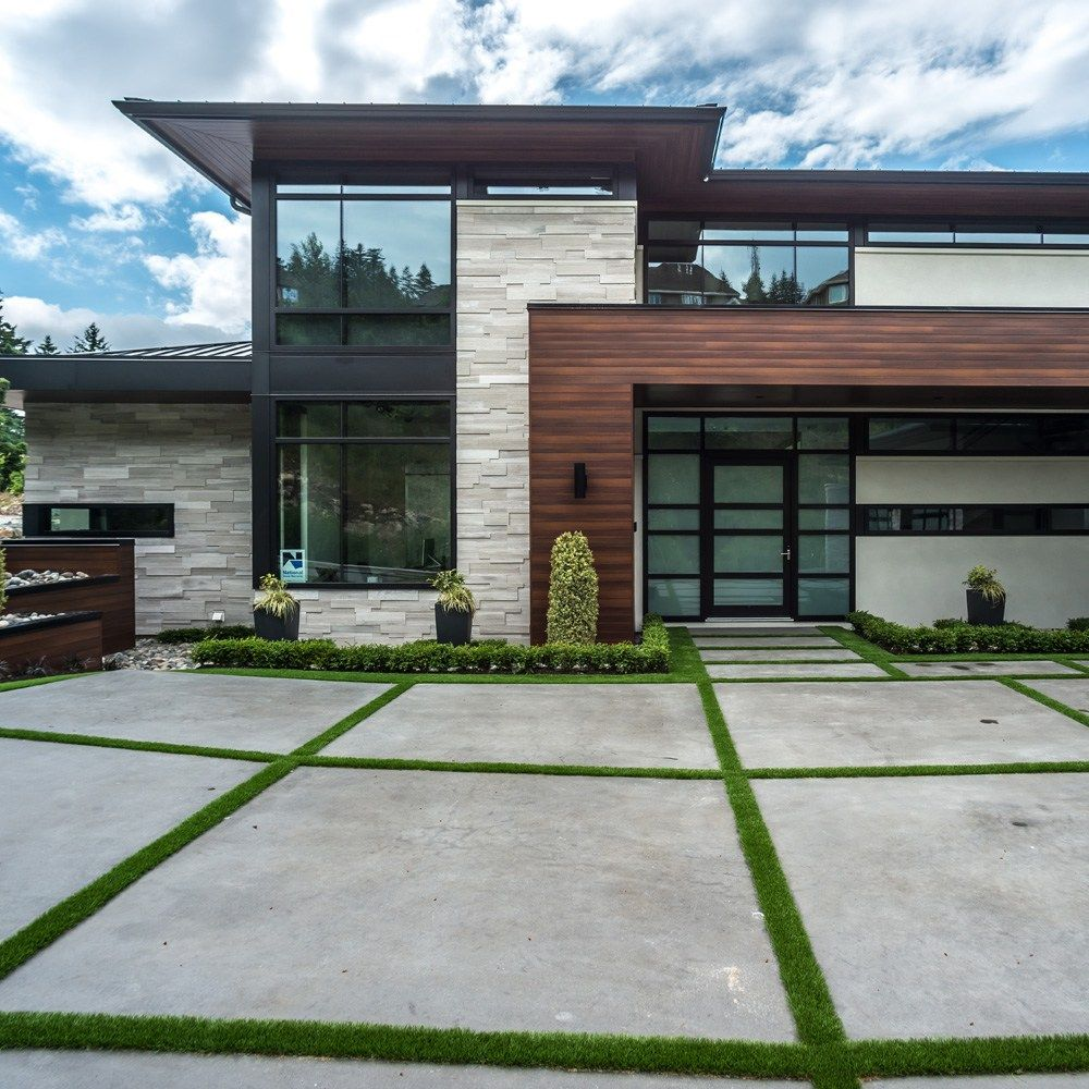 Contemporary Grey House Exterior Waplag Natural Stone Of: Mayne Coatings Corp – Aluminum