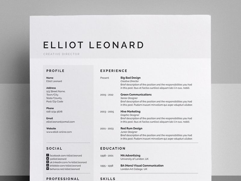 Resume/CV - \'Elliot\' | Resume styles, Cv resume template and Design ...