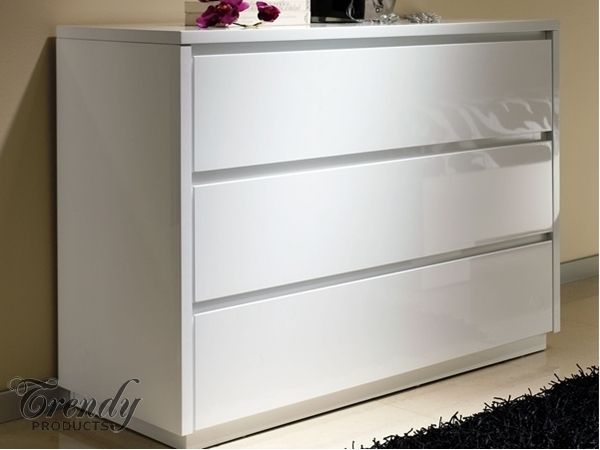 Alba High Gloss White Chest Of Drawers