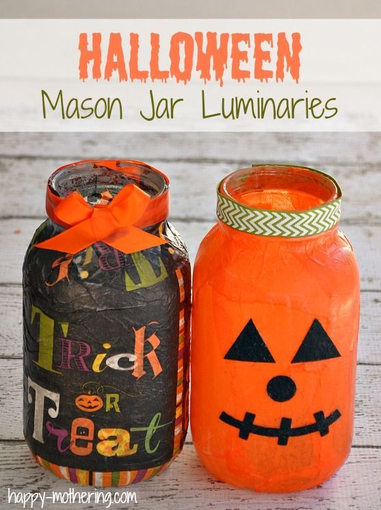 Mason Jar Luminaries for Halloween Jar, Tutorials and Craft - halloween jar ideas
