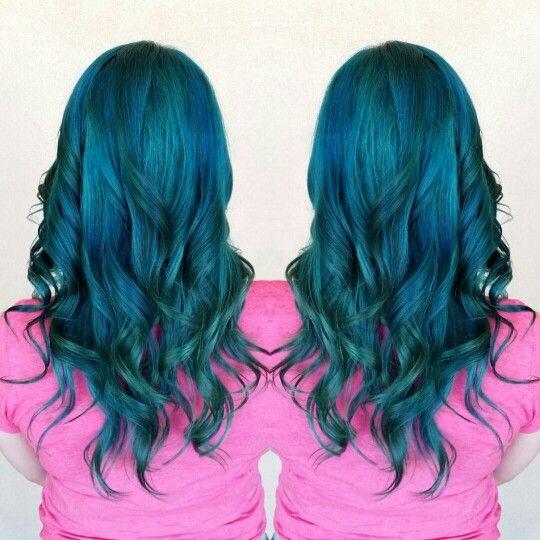 blue and teal mermaid hair