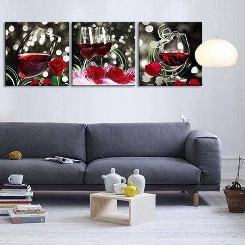Photo of 3 Pcs Rose Wine Pattern Canvas Painting Unframed Pictures Living Room Decor – as the picture z