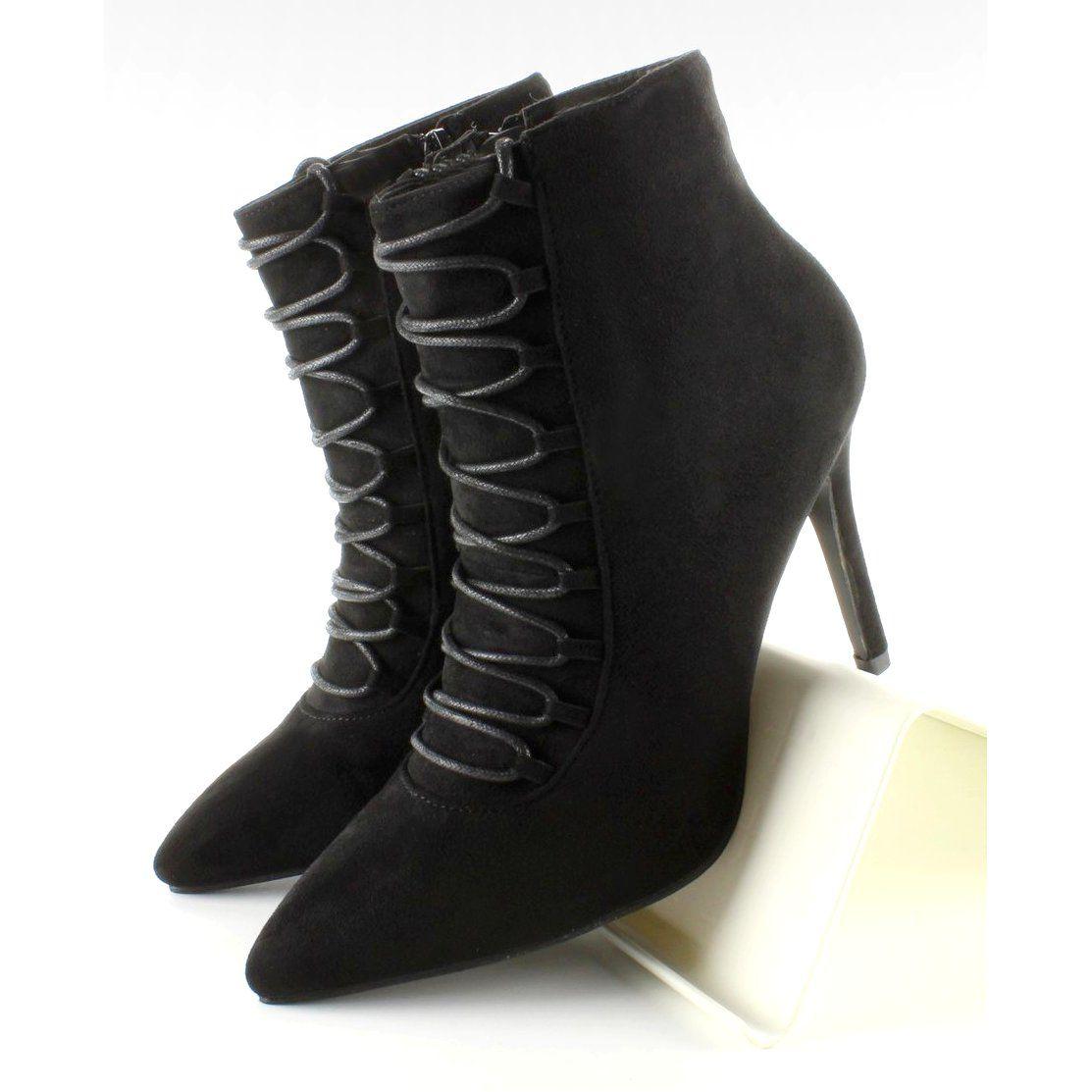 Botki Damskie Obuwiedamskie Czarne Botki Sznurowane Na Szpilce 100 595se 1 Obuwie Damskie Heels High Heels Stiletto