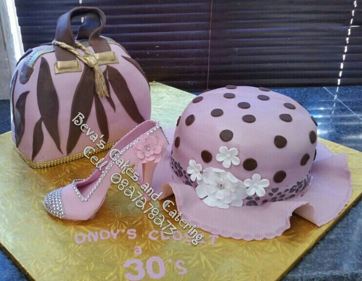 30th Birthday Hat Shoe And Handbag Cake