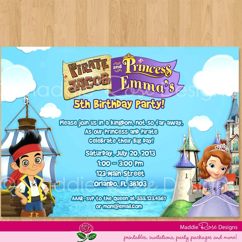Attractive Princess And Pirate Party Invites Composition ...