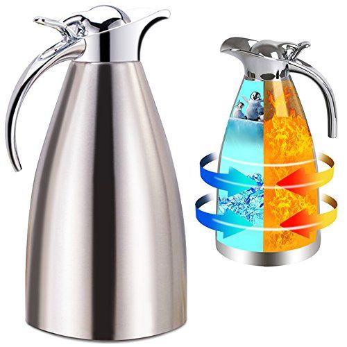 Panesor Thermal Coffee Carafe Insulated 68 Oz2l Vacuum Stainless Steel Tea Carafe Hot Coffee Pitcher Starting A Coffee Shop Coffee Shop Business Coffee Carafe