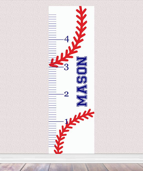 Baseball Laces Personalized Growth Chart Decal Growth Chart Personalized Growth Chart Growth Ruler