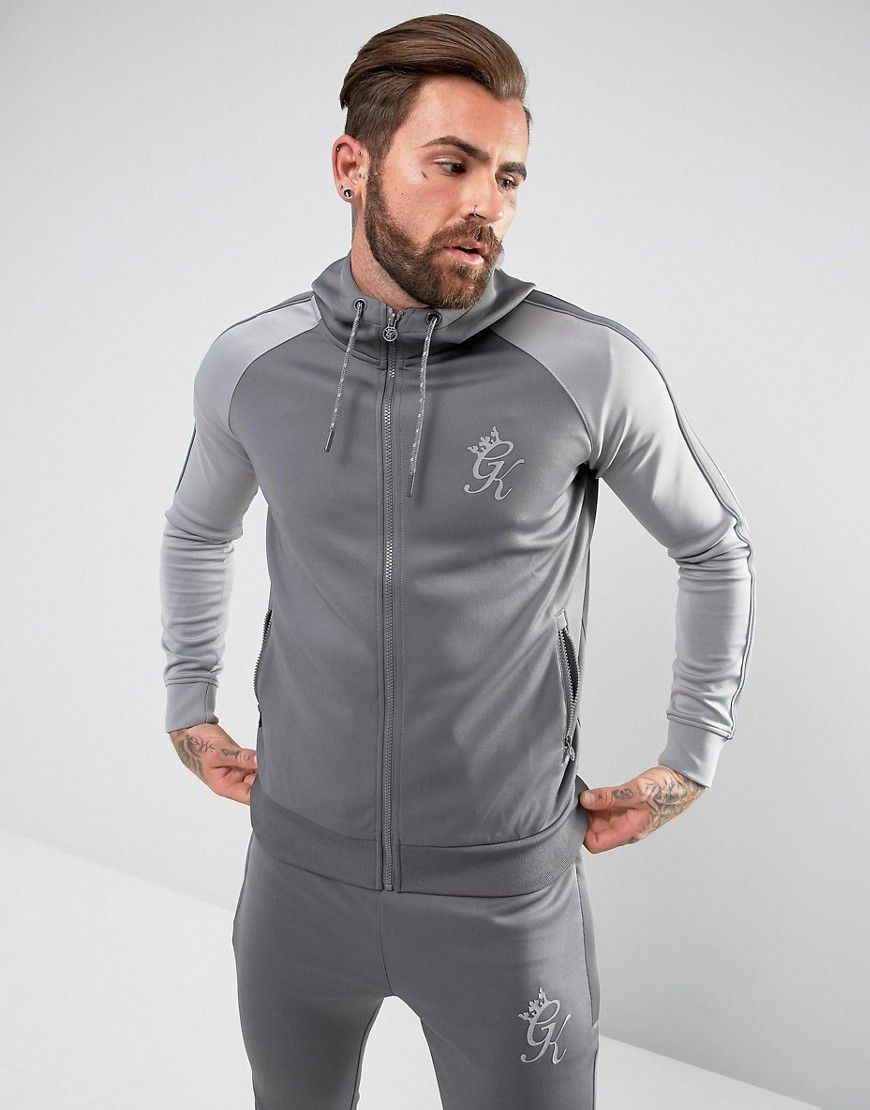 c76372300c8 Gym King Track Hoodie In Gray With Reflective Logo - Gray