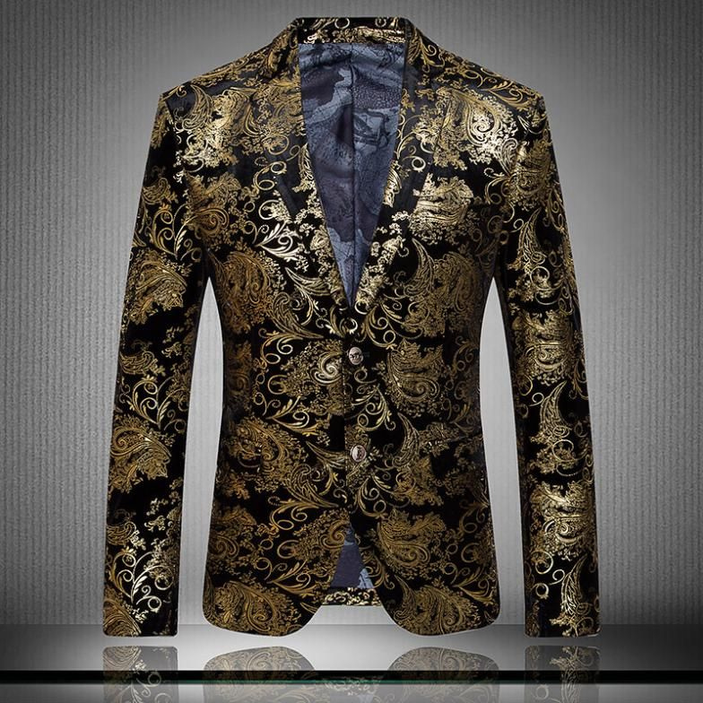 Cheap blazer fashion men, Buy Quality blazer men directly from China blazer  men fashion Suppliers: Golden Paisley Floral Blazer Men Slim Fit Men Suit  Jacket ...