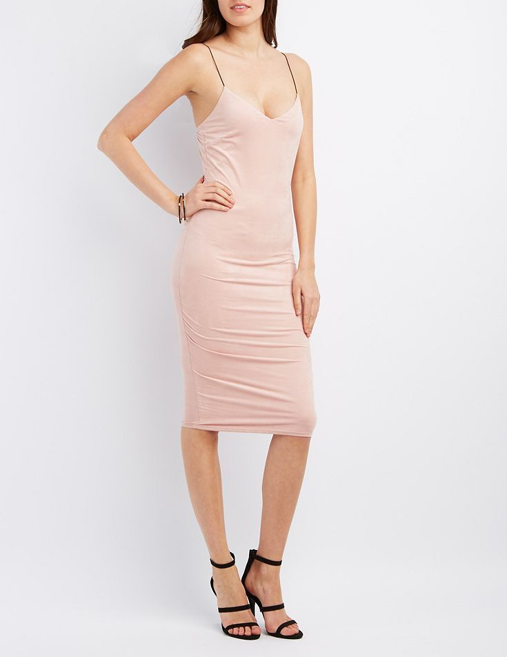 Pink Faux Suede Bodycon Dress by Charlotte Russe | PARtaY | Pinterest