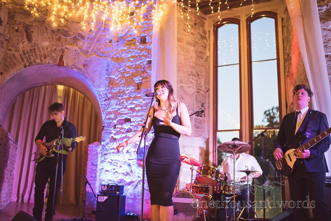 The Cover UP Band wedding band at Lulworth Castle wedding in Dorset ...