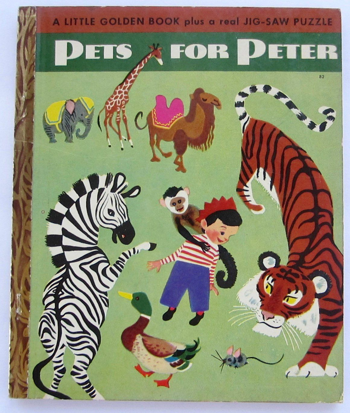 Little golden book pets for peter with jig saw puzzle vintage