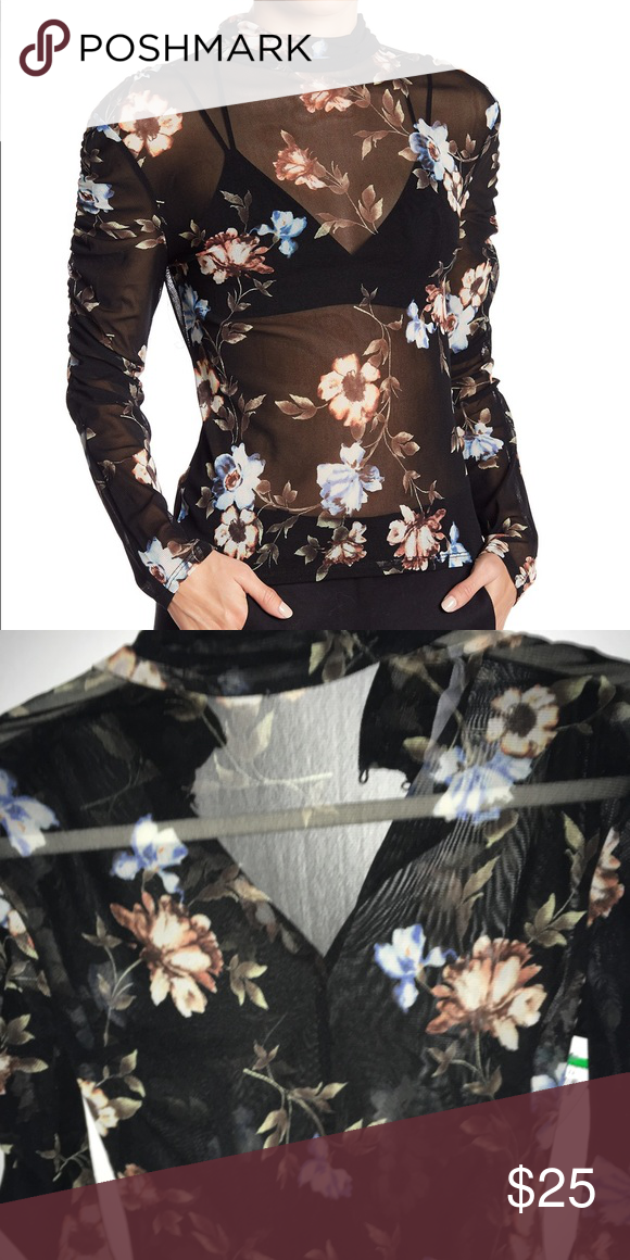 555fadd4a93 ASTR Mock Neck Floral Top Sheer black Floral long sleeve top Brand new Astr  Tops Tees - Long Sleeve