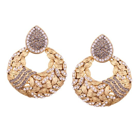 White Alloy Austrian Diamonds Earrings 56989 Online From Huge Collection Of Indian Ethnic Jewellery At M