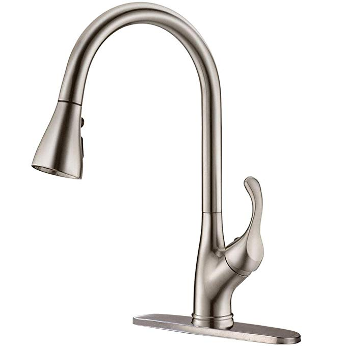 Appaso Pull Down Kitchen Faucet With Sprayer Stainless Steel Brushed Nickel Single Handle Commercial High Arc Pull Out Spray Head Kitchen Kitchen Faucet With Sprayer Kitchen Sink Faucets Brushed Nickel
