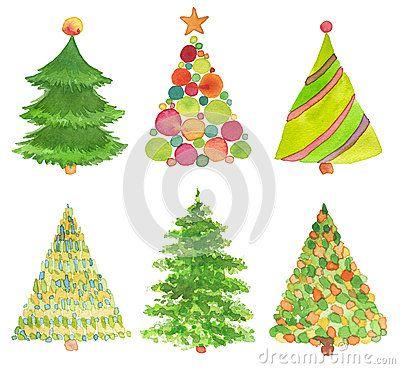 Dibujos De Arboles De Navidad Pintados.Sistema Del Arbol De Navidad Pintado A Mano De La Acuarela
