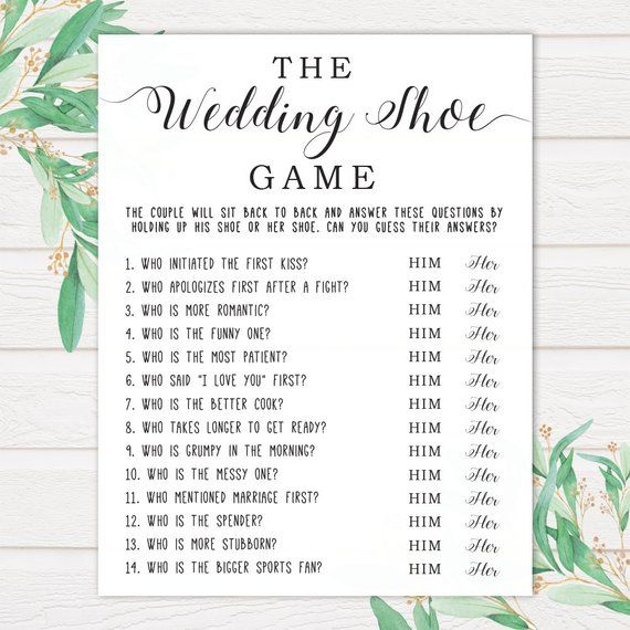 The Wedding Shoe Game . Bridal Shower Games . Wedding Shower Games . Bridal Shower Print . Bridal Shower Printable Games . Printable Games