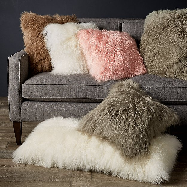 White Mongolian Lamb Pillow Crate And Barrel In 2020 Pillows
