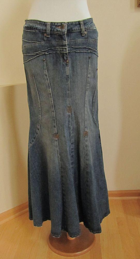 ead9f40134 Bisou Bisou Denim Skirt 10 Mermaid Long Maxi Modest Jean flared hem Boho no  slit #BISOUBISOU #Maxi