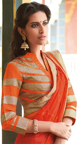 d60dd9c3e4f658 6 Blouse Designs To Pair With Your Designer Saree - MommysTimeline.  Collared Neck Blouse Designs