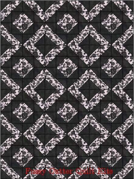 Black Floral Flowers Roses on Pink Fabric Easy Pre-Cut Quilt Blocks Top Kit