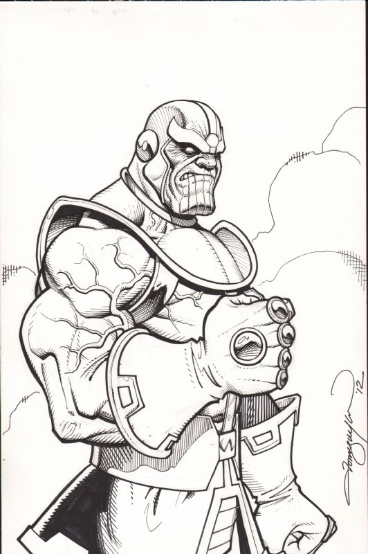 Thanos Black And White With Images Comic Drawing Comic Books