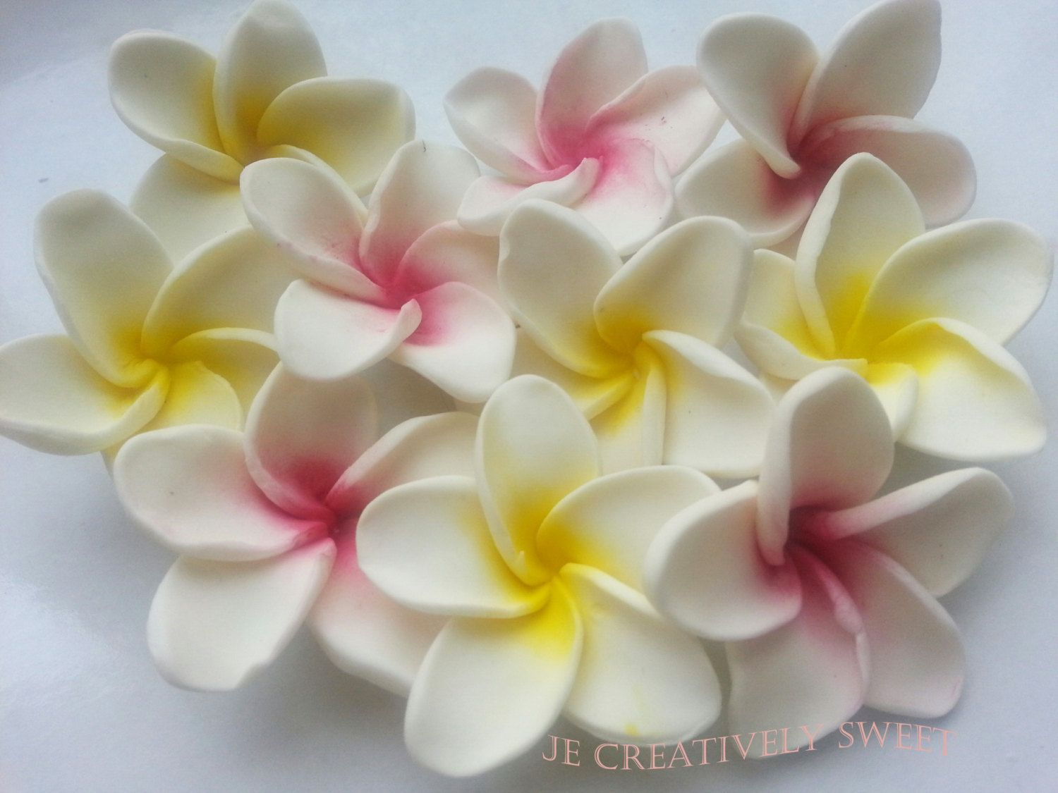 Plumeria frangipani tropical exotic flowers edible gumpaste fondant plumeria frangipani tropical exotic flowers edible gumpaste fondant cake cupcake cookies toppers by jecreativelysweet on etsy izmirmasajfo