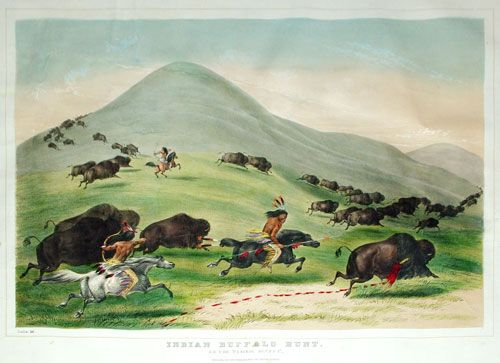 "Currier & Ives  Indian Buffalo Hunt: On the ""Prairie Bluffs"" by George Catlin Published:  New York by Currier and Ives  19th c. Medium:  lithograph with hand coloring Dimensions:  13 x 17.7"""