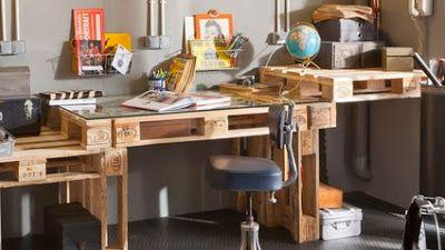 Bureau palette fait main idées deco bureau palette