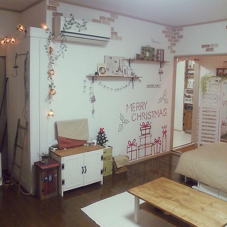 壁 天井 賃貸 賃貸アパート クリスマスディスプレイ テーブルdiy