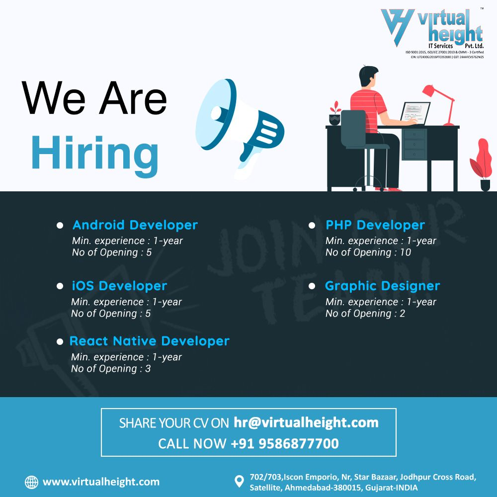 We Are Hiring Join Our Team Web App Developer Ahmedabad Virtual Height In 2020 Mobile App Development Companies App Development Companies App Development