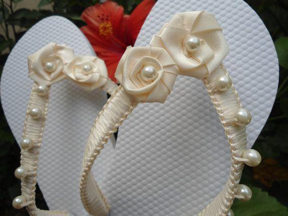 Ivory Bridal Flip Flops embellished in MACRAMÉ by Adriana Dos Santos