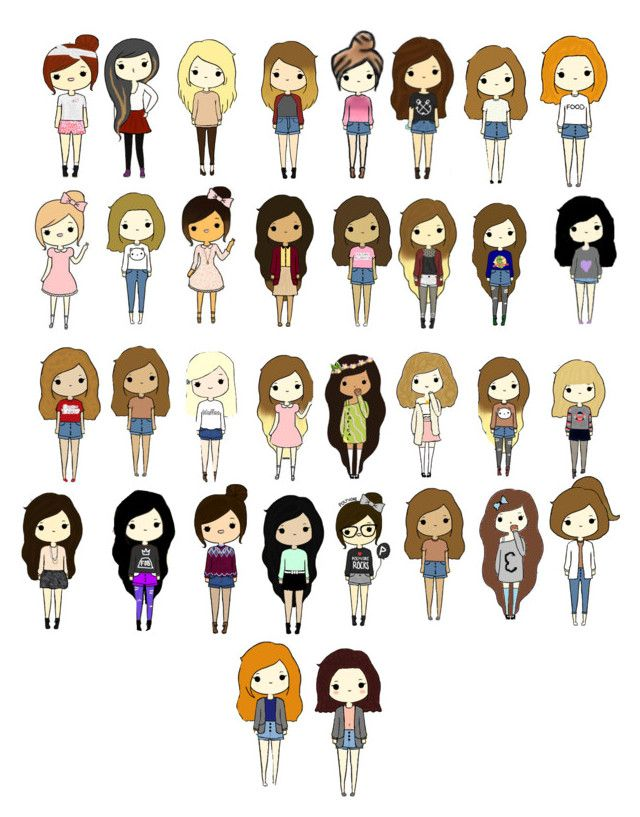 Cute cartoon people by tumblinggirl ❤ liked on polyvore