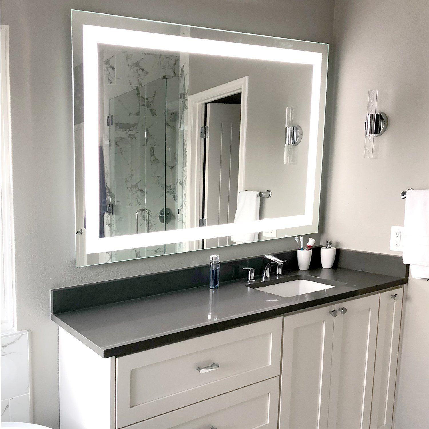 Front Lighted Led Bathroom Vanity Mirror 40 Bathroom Vanity Mirror Bathroom Design Bathroom Interior